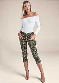 Front View Color Capri Jeans