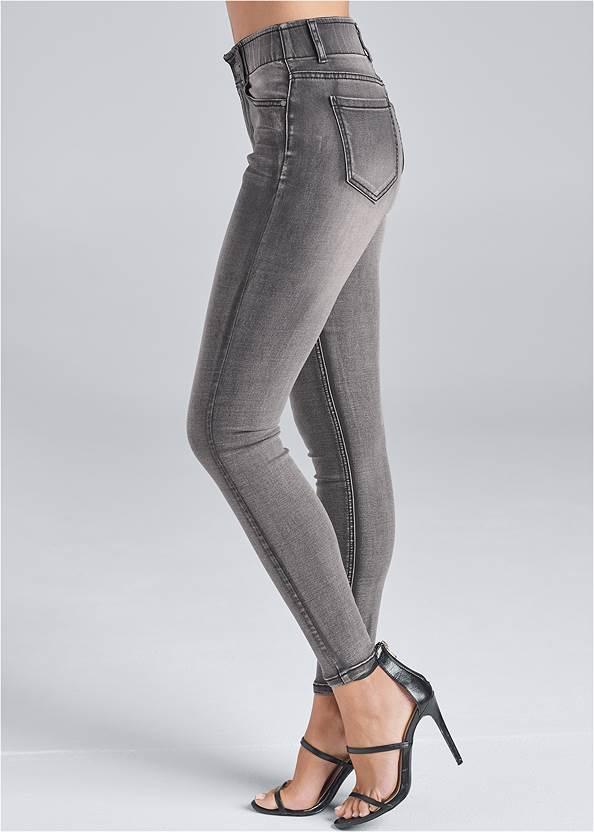 Waist down side view Elastic Waistband Jeans