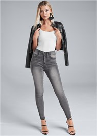 Front View Elastic Waistband Jeans