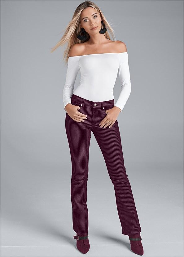 Velvet Stripe Pants,Off The Shoulder Top,Buckle Detail Booties,Beaded Tassel Earrings