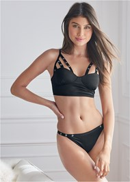 Cropped front view Strappy Bra And Thong Set