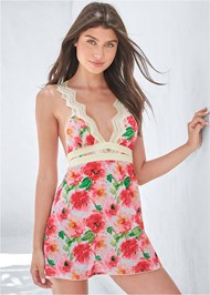 Cropped front view Floral Print Chemise