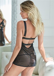 Cropped back view Mesh Babydoll And Panty Set