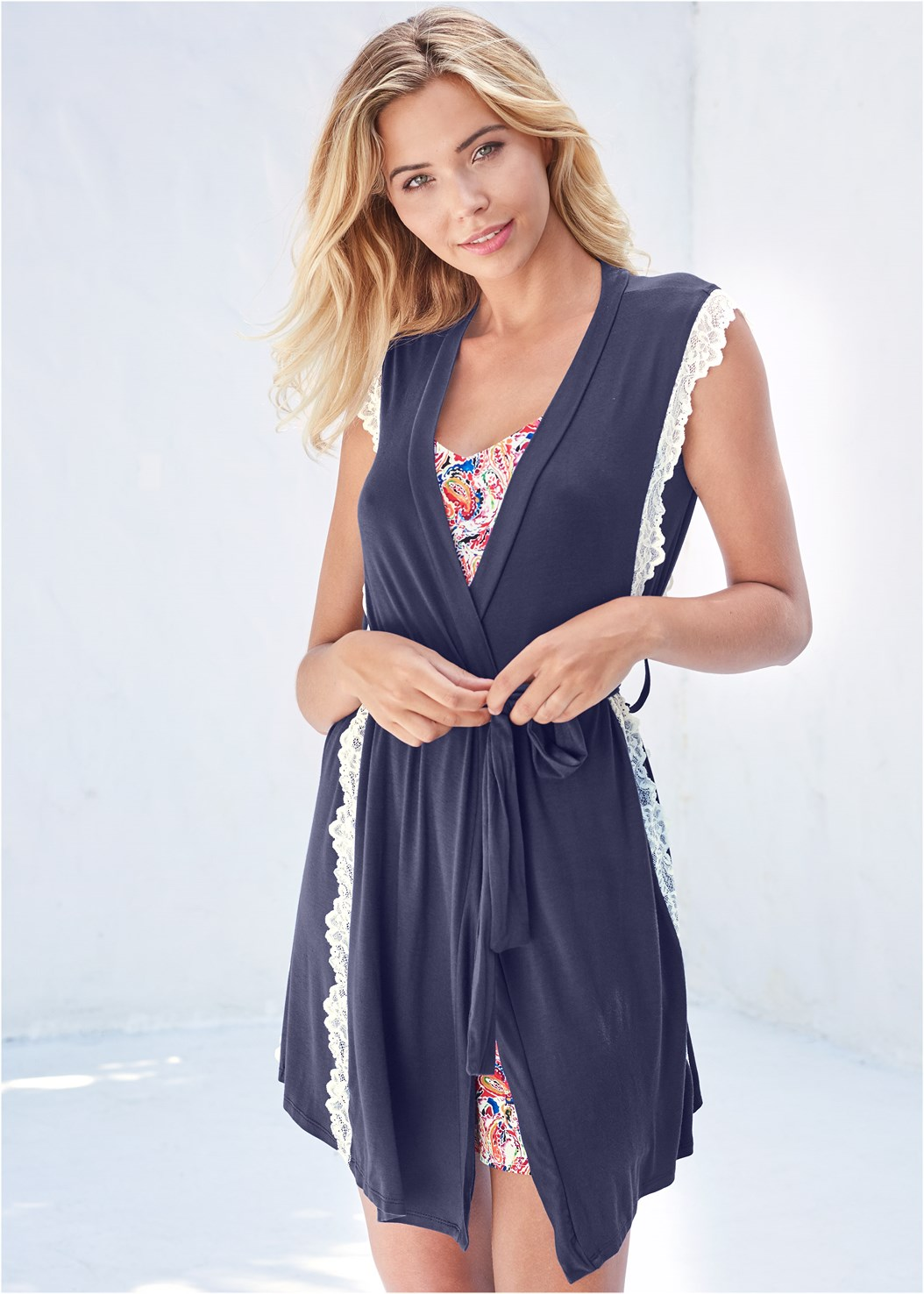 Lace Trim Robe,Lace Embroidered Chemise