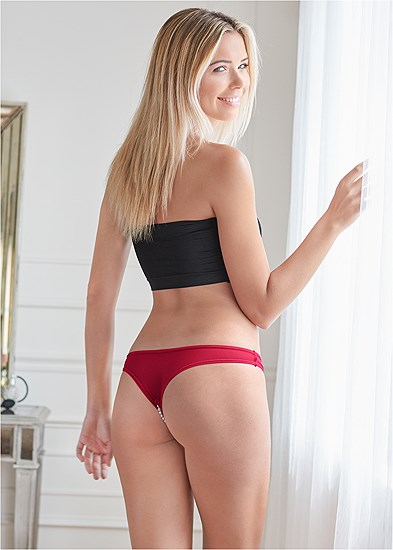 Open Thong W/ Pearl Details