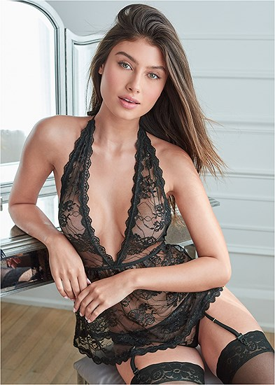 Lace Babydoll And Panty Set