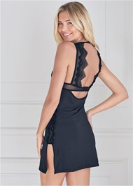 Cropped back view Lace Detail Chemise And Panty