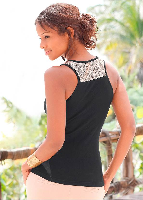 Back View Sequin Detail Tank