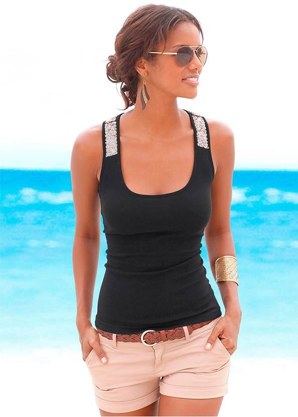 Sequin Detail Tank,Frayed Cut Off Jean Shorts,Embellished Wedges