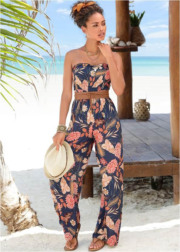 Floral Strapless Jumpsuit,Rhinestone Thong Sandals,High Heel Strappy Sandals,Circle Basket Wooden Bag