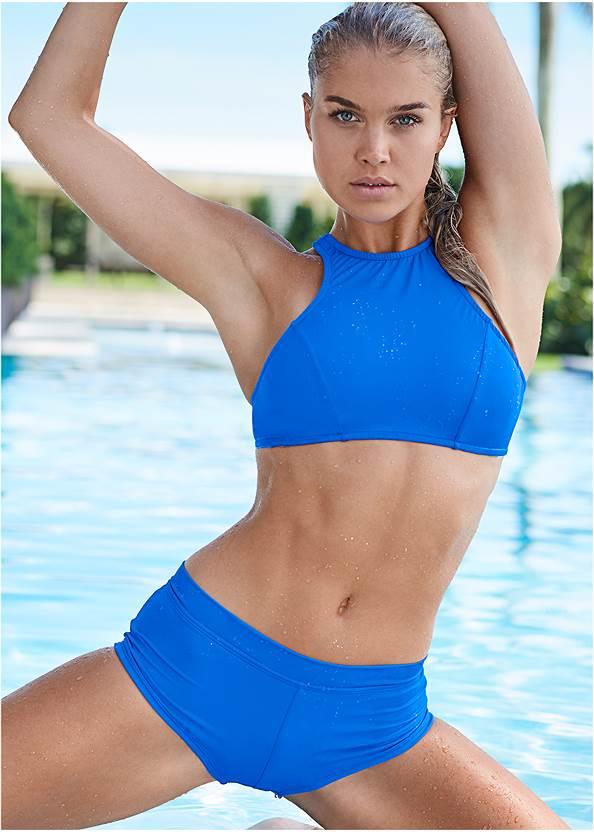 Sports Illustrated Swim™ Cheeky Short,Sports Illustrated Swim™ High Neck Sport Top,Sports Illustrated Swim™ Double Strap Triangle Top,Sports Illustrated Swim™ Push Up Halter Top