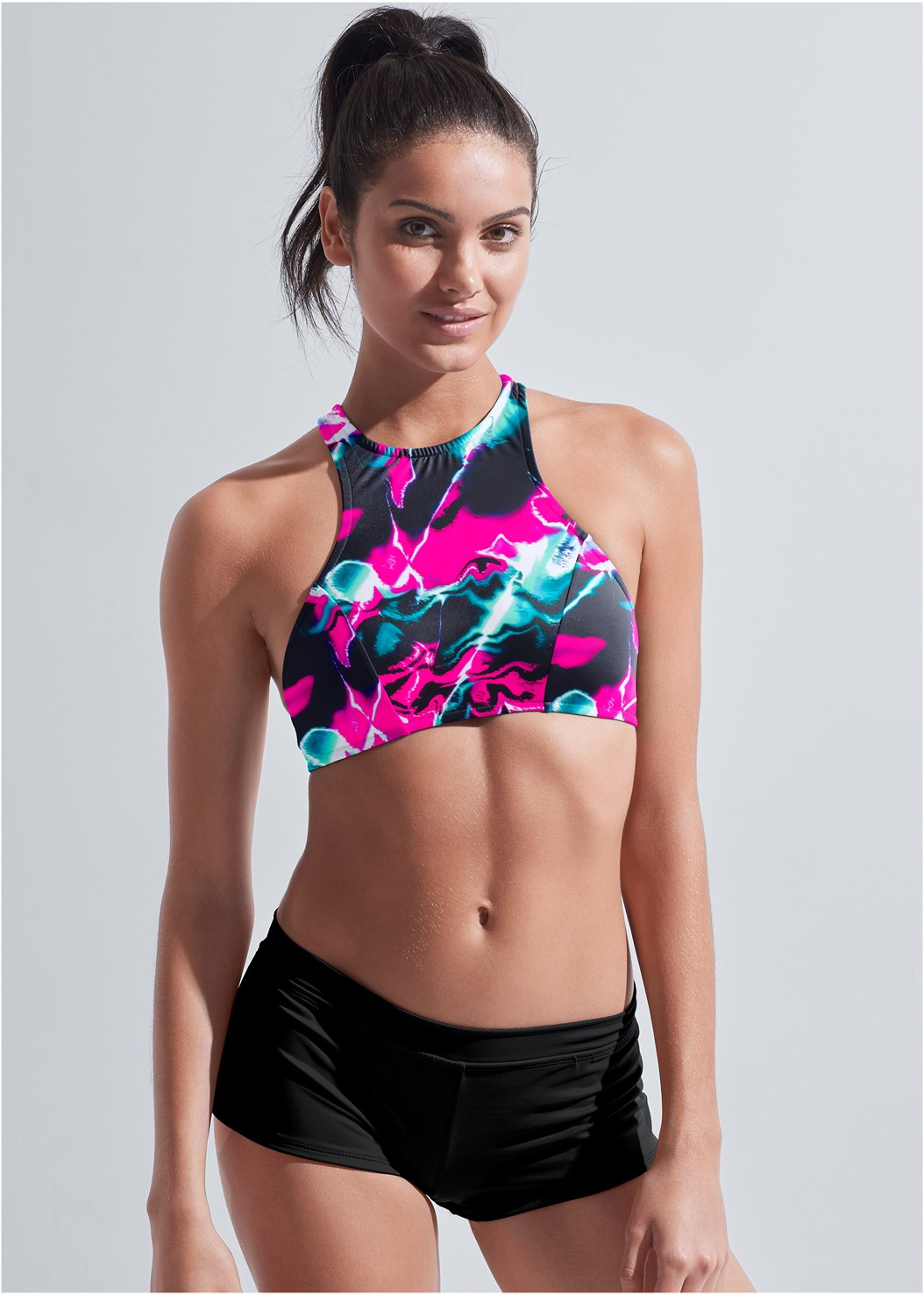 Sports Illustrated Swim™ High Neck Sport Top,Sports Illustrated Swim™ Cheeky Short,Sports Illustrated Swim™ High Waist Bottom,Sports Illustrated Swim™ Cut Out Sides Bottom