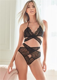 Cropped front view Lace Bralette And Panty Set
