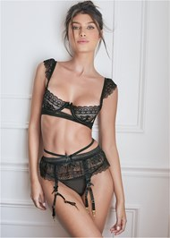 Cropped front view Unlined Bra/Garter/Thong Set