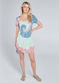 Full front view Tie Dye Knotted Lounge Dress