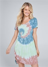 Cropped front view Tie Dye Knotted Lounge Dress