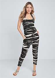 Full front view Easy Tie Dye Lounge Jumpsuit