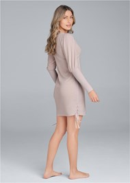 Full back view Brushed Waffle Knit Dress