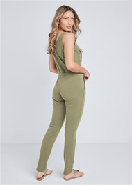 Back View Mineral Wash Utility Jumpsuit