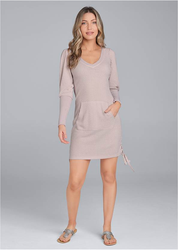 Full front view Brushed Waffle Knit Dress