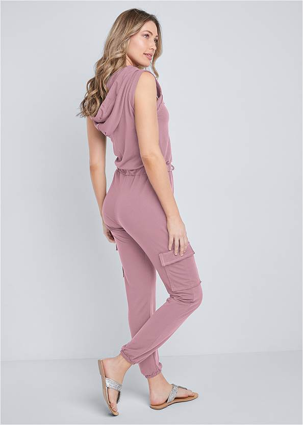 Back View French Terry Zipper Utility Jumpsuit
