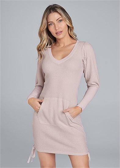 brushed waffle knit dress
