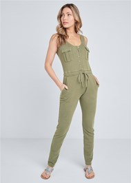 Front View Mineral Wash Utility Jumpsuit