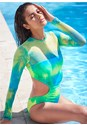 Front View Sports Illustrated Swim™ Mesh Long Sleeve One-Piece