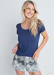 Cropped front view Sleep Tee And Short Set