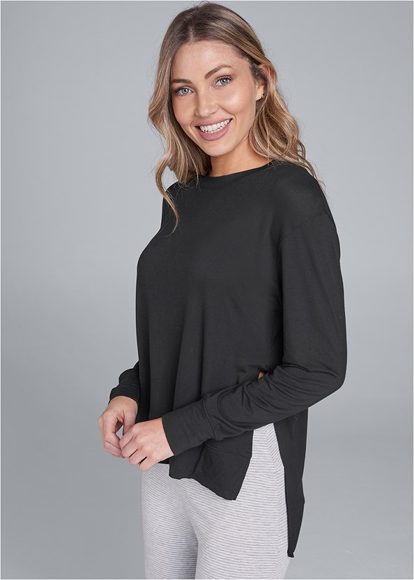 Long Sleeve Sleep Shirt,Palazzo Sleep Pant