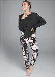 Front View Lace Trim Sleep Pants
