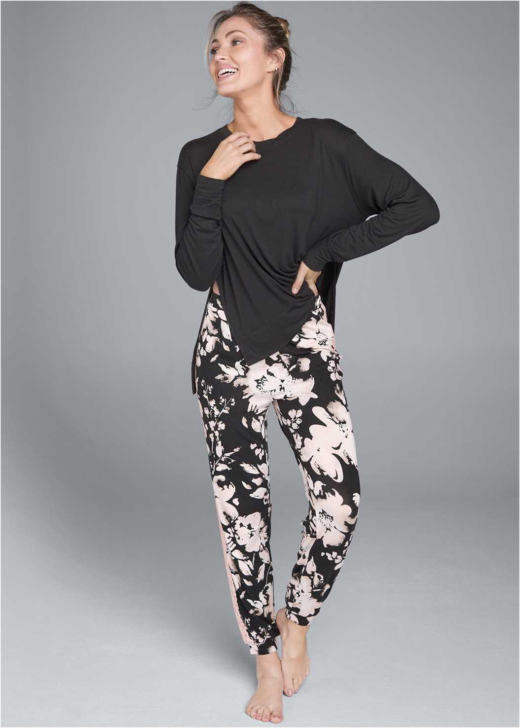 Lace Trim Sleep Pants,Long Sleeve Sleep Shirt
