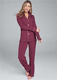 Full front view Button Down Sleep Set