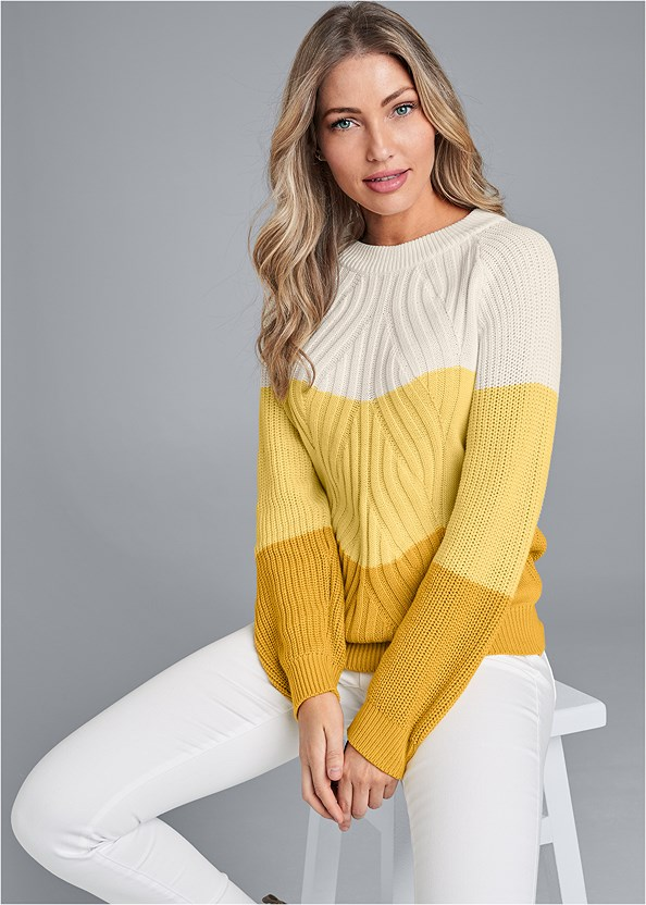 Color Block Sweater,Mid Rise Slimming Stretch Jeggings,Seamless Lace Comfort Bra,Knee High Block Heel Boot,Belt Buckle Detail Bootie,Circle Ring Detail Handbag