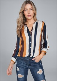 Cropped front view Striped Blouse