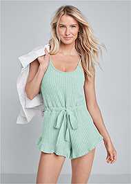 Front View Cozy Rib Knit Lounge Romper