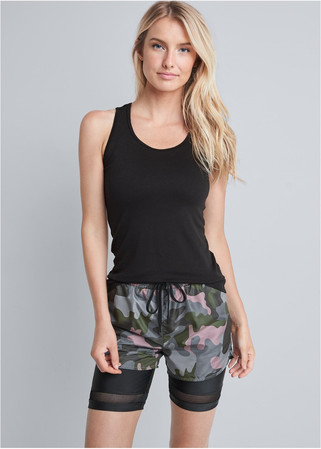 Camo Active Short Set,Lace Up Star Sneakers