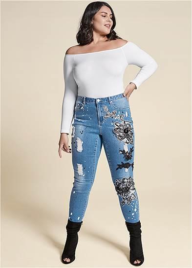 Plus Size Floral Applique Skinny Jeans