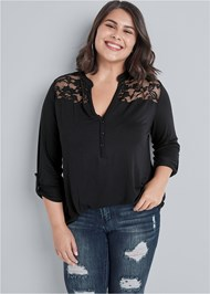 Cropped Front View Lace Detail Henley
