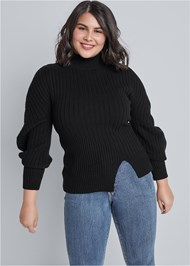 Cropped Front View Balloon Sleeve Sweater