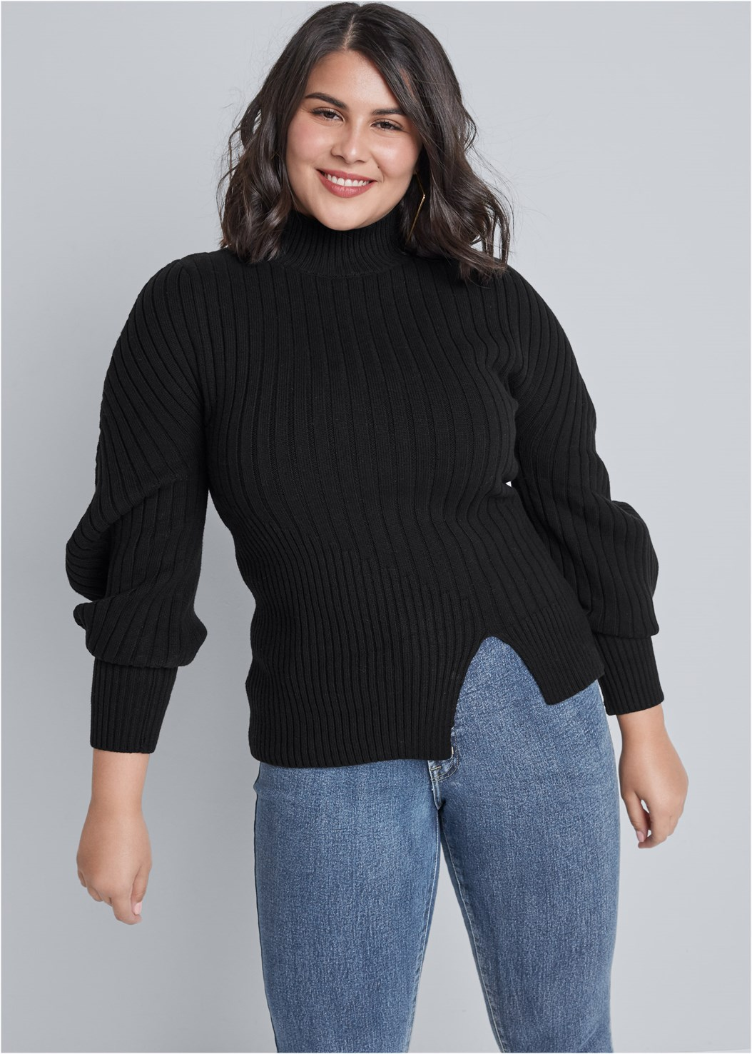 Balloon Sleeve Sweater,Mid Rise Color Skinny Jeans,Square Hoop Earrings