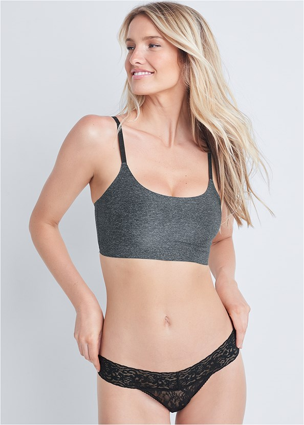 Wire-Free Comfort Bra 2Pk,Lace Thong 3 For $19