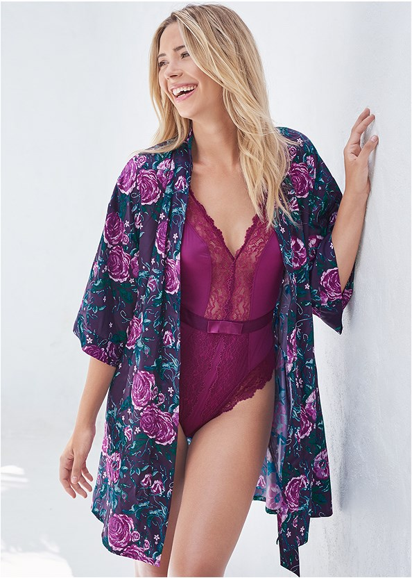 Satin Kimono,Satin Lace Chemise,Lace Thong 3 For $19