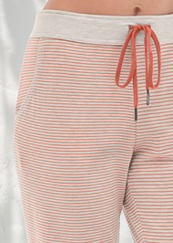 Detail front view Striped Sleep Jogger