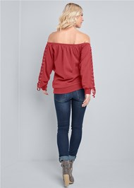Back View Lace Up Sleeve Sweatshirt