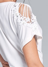Alternate View Lace Sleeve And Faux Pearl Detail Top