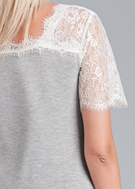 Alternate View Lace Sleeve V-Neck Top