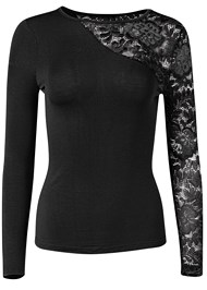 Ghost with background  view Long Sleeve Lace Top