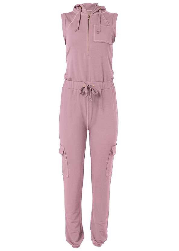 French Terry Zipper Utility Jumpsuit,Basic Cami Two Pack