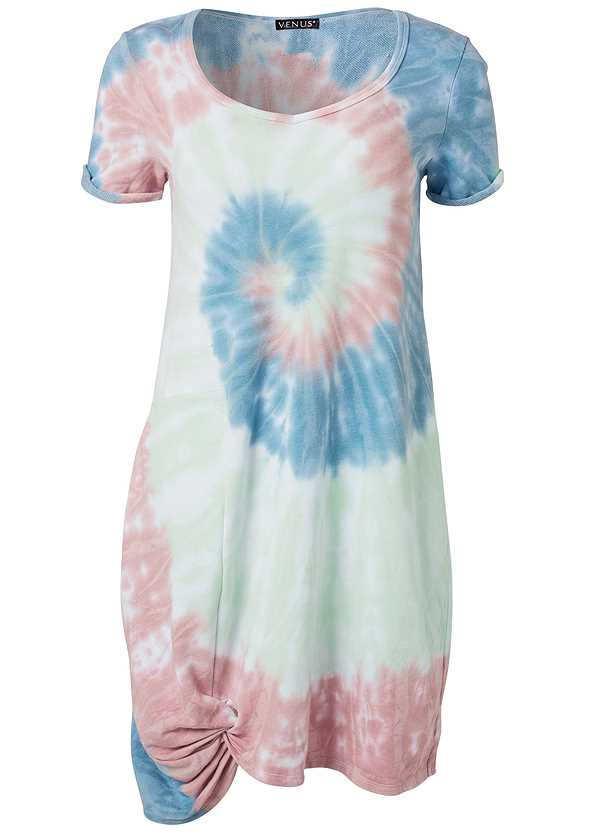 Tie Dye Knotted Lounge Dress,Rhinestone Thong Sandal